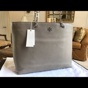 NEW TORY BURCH Gray Leather FRIDA SHOULDERBAG Tote